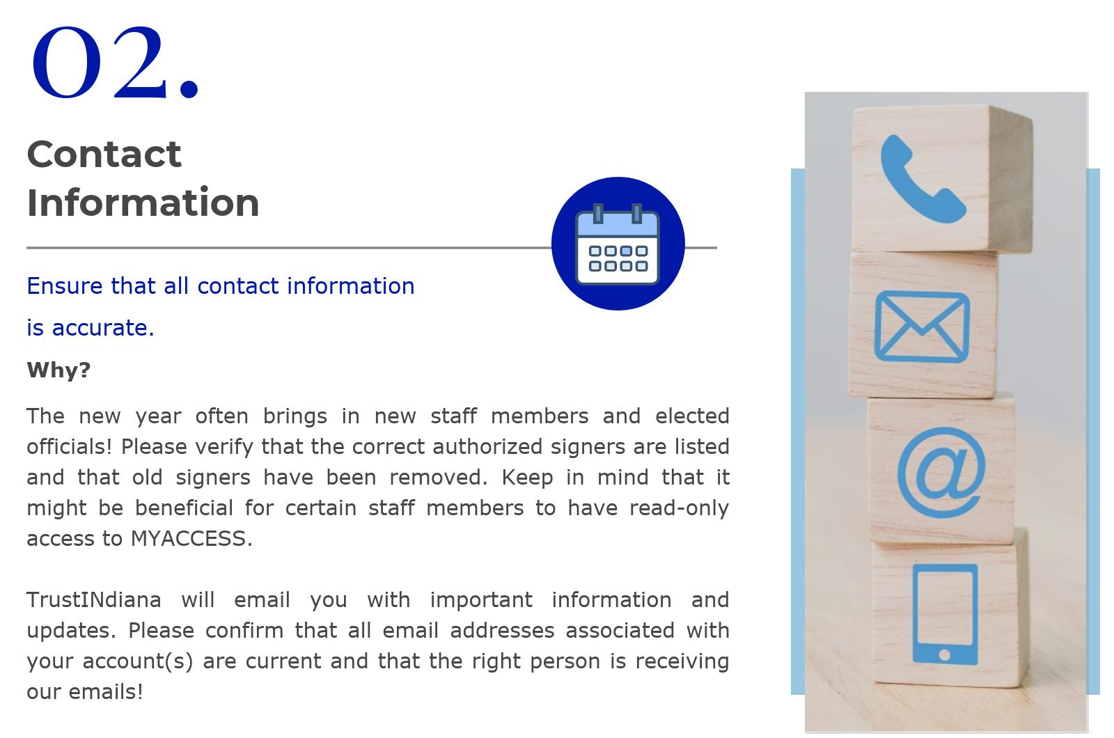 12.18 - TrustINdiana Investor Contact Information